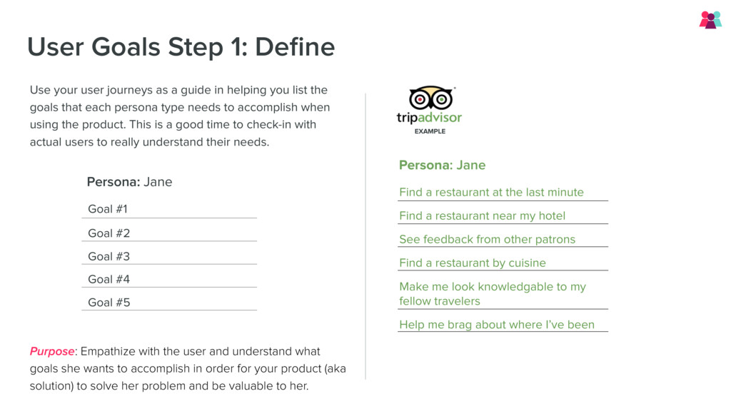 User Goals Step 1: Define Use your user journeys...