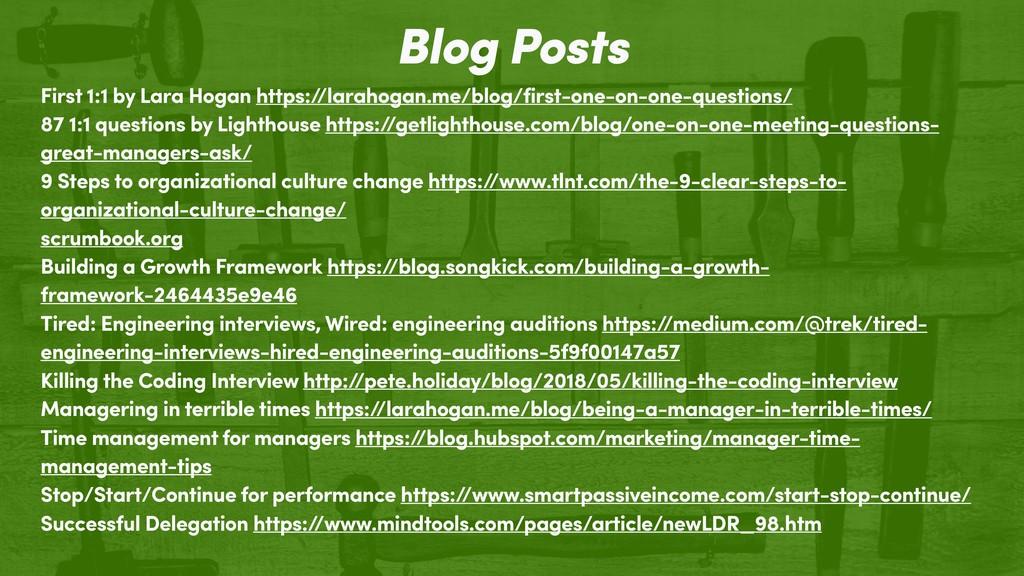 Blog Posts First 1:1 by Lara Hogan https:/ /lar...