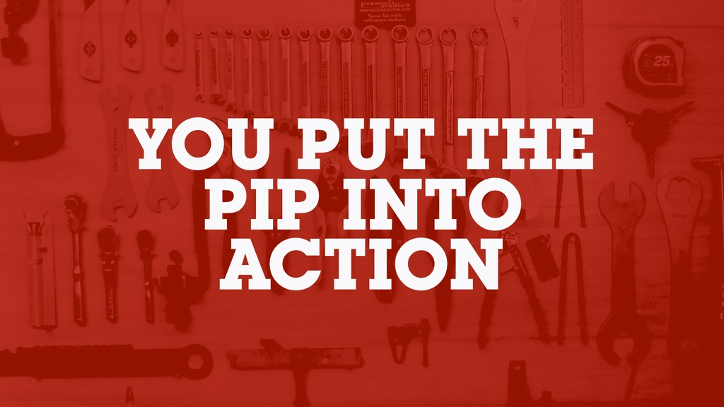 YOU PUT THE PIP INTO ACTION