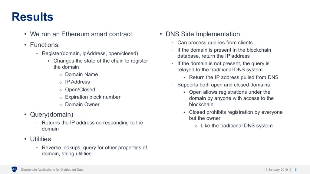 Results • We run an Ethereum smart contract • F...