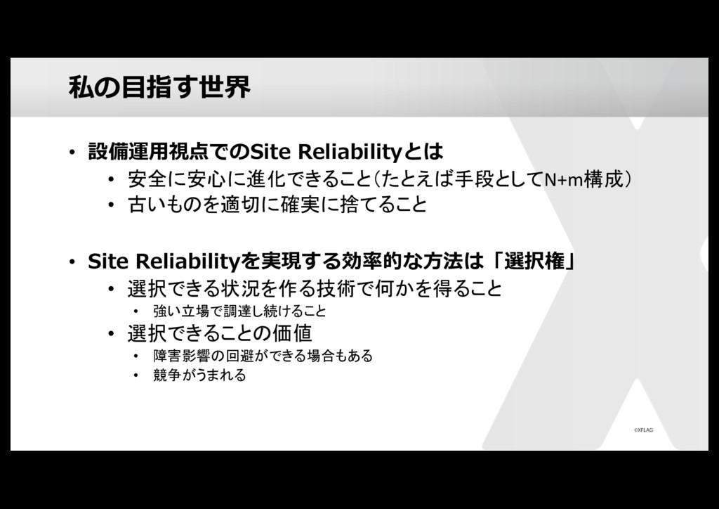 私の⽬指す世界 • 設備運⽤視点でのSite Reliabilityとは • 安全に安心に進化...