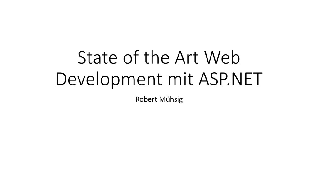 State of the Art Web Development mit ASP.NET Ro...
