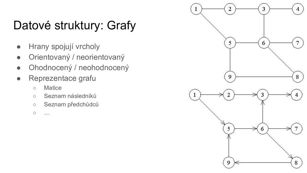 Datové struktury: Grafy ● Hrany spojují vrcholy...