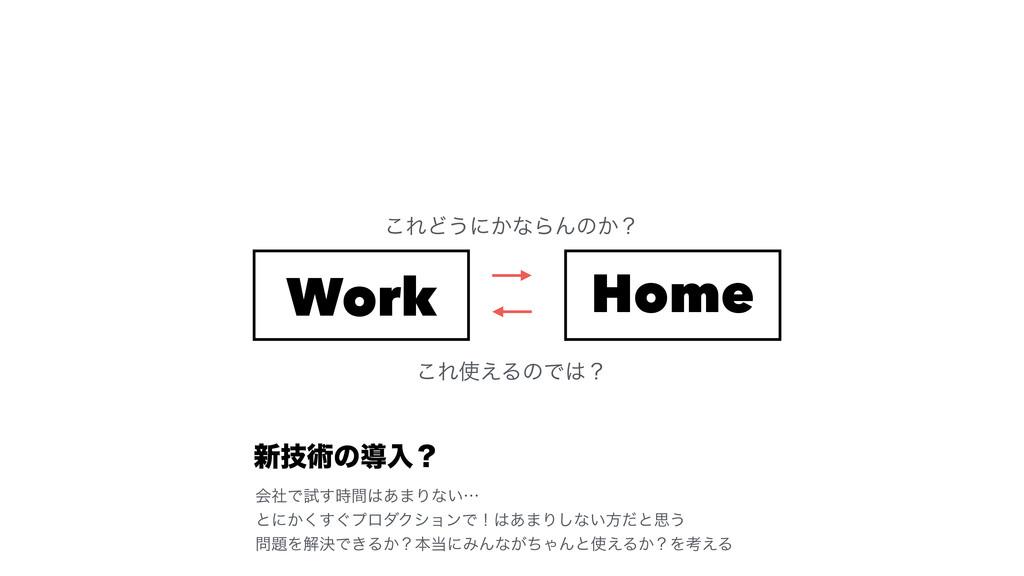 Work Home ͜ΕͲ͏ʹ͔ͳΒΜͷ͔ʁ ͜Ε͑ΔͷͰʁ ৽ٕज़ͷಋೖʁ ձࣾͰࢼ͢...