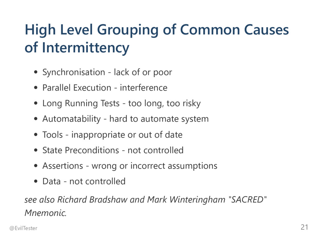 High Level Grouping of Common Causes of Intermi...