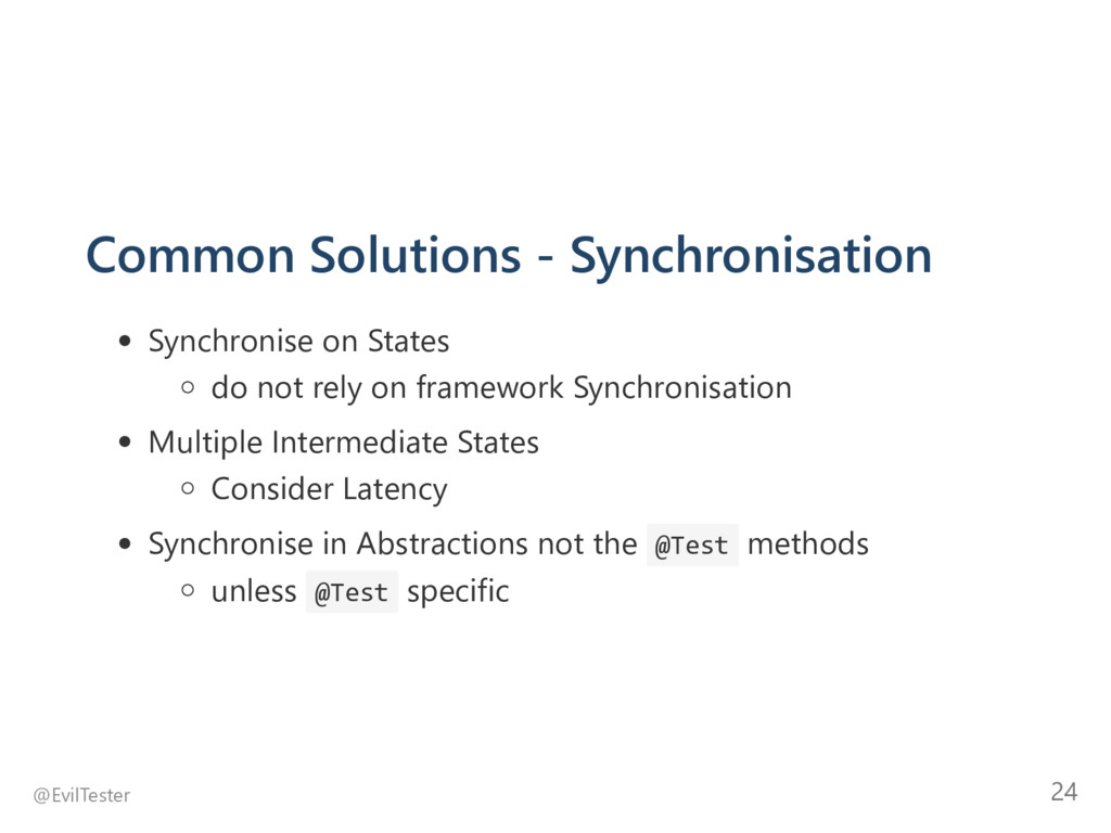 Common Solutions ‐ Synchronisation Synchronise ...