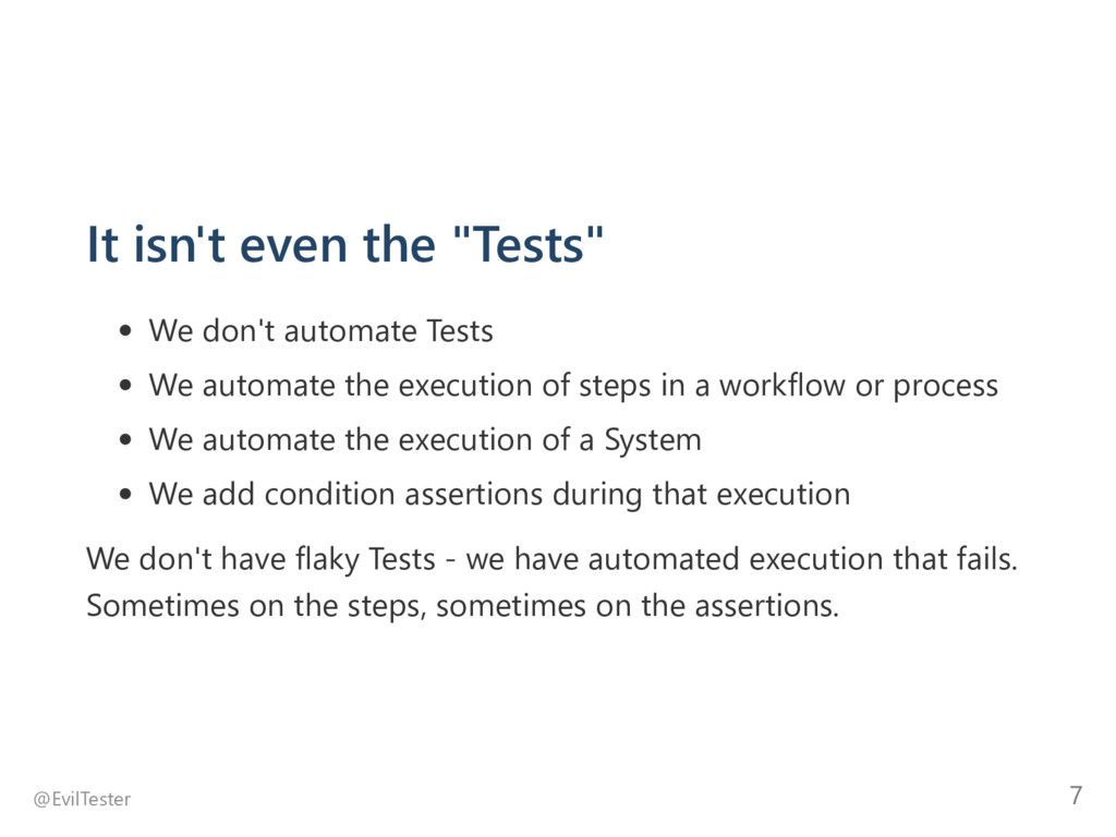 "It isn't even the ""Tests"" We don't automate Tes..."