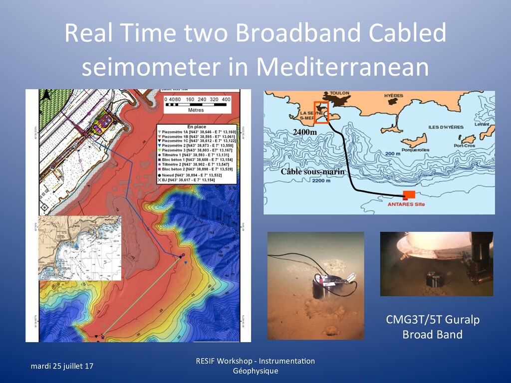 Real Time two Broadband Cabled seimometer in Me...