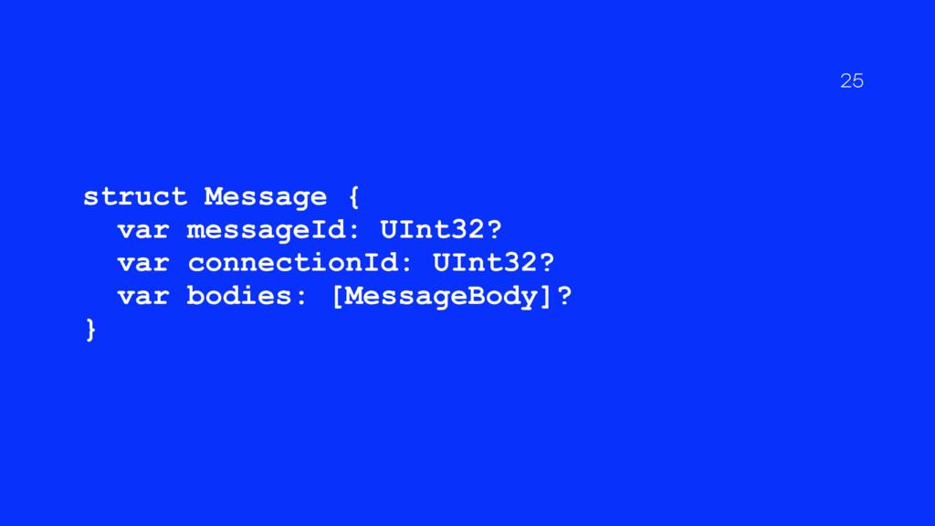 struct Message { var messageId: UInt32? var con...