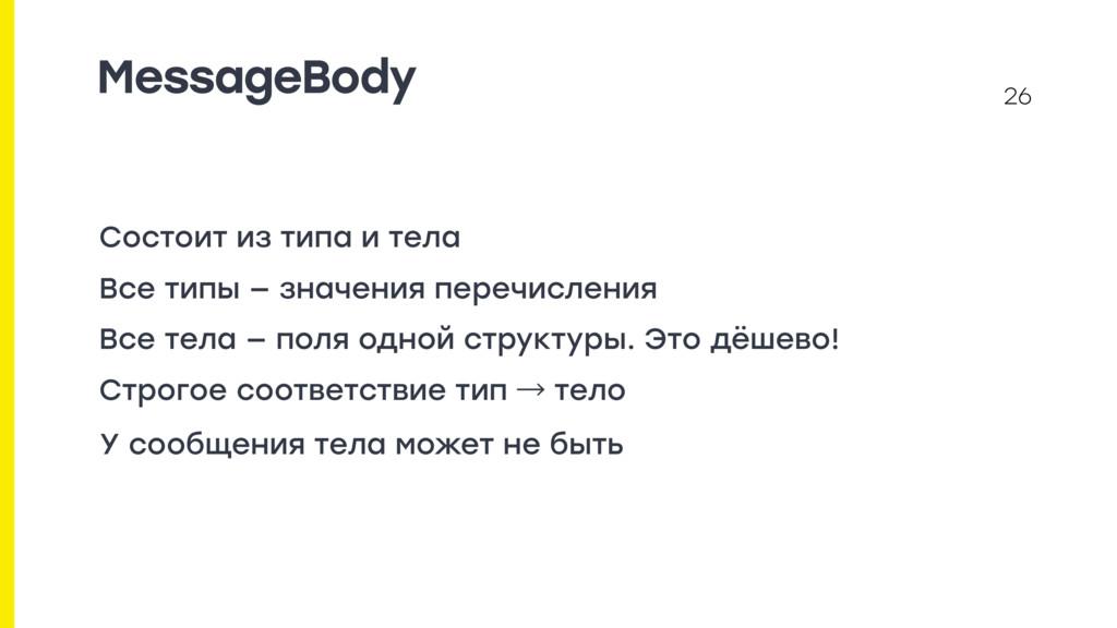 MessageBody Состоит из типа и тела Все типы — з...