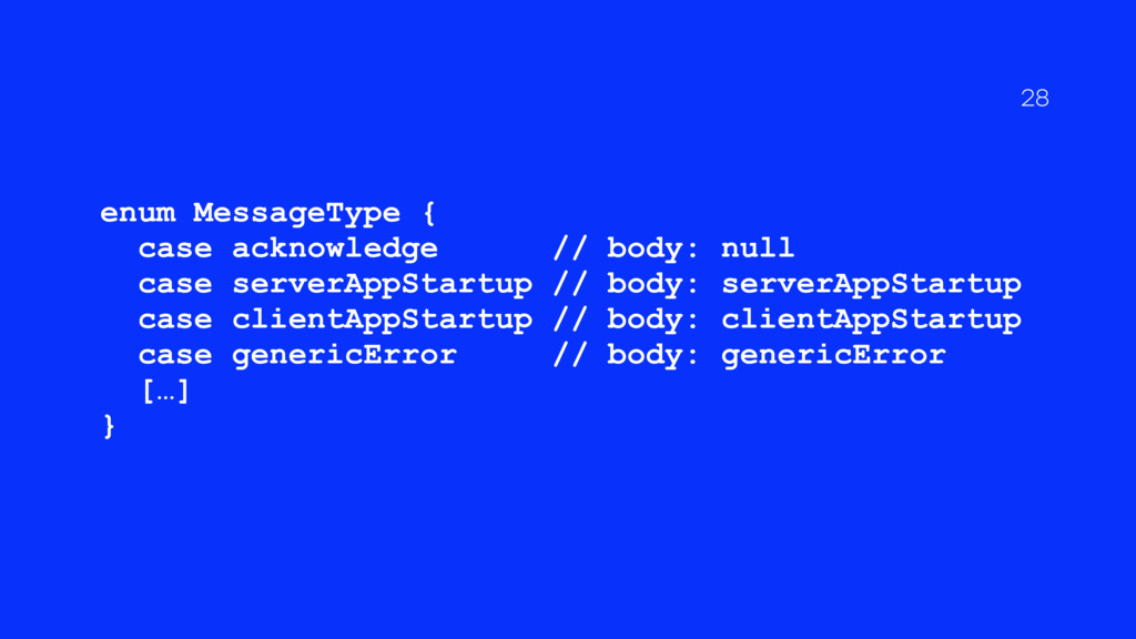 enum MessageType { case acknowledge // body: nu...