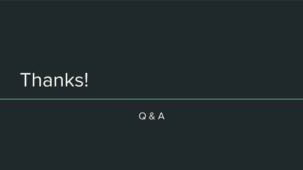 Thanks! Q & A