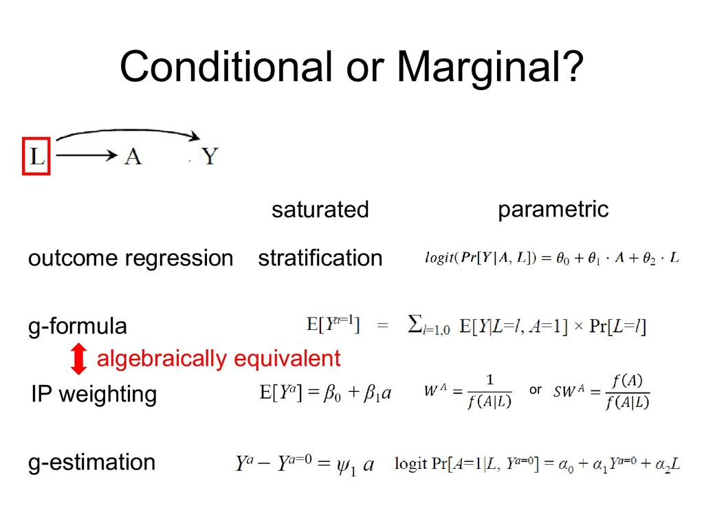 Conditional or Marginal? outcome regression sat...