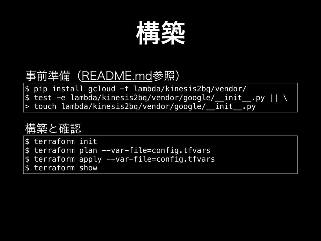 ߏங $ pip install gcloud -t lambda/kinesis2bq/ve...