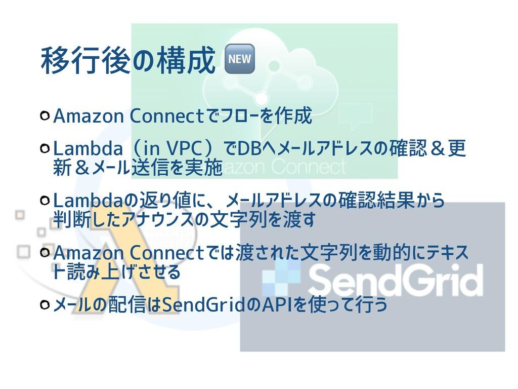 移行後の構成  Amazon Connectでフローを作成 Lambda(in VPC)でDB...