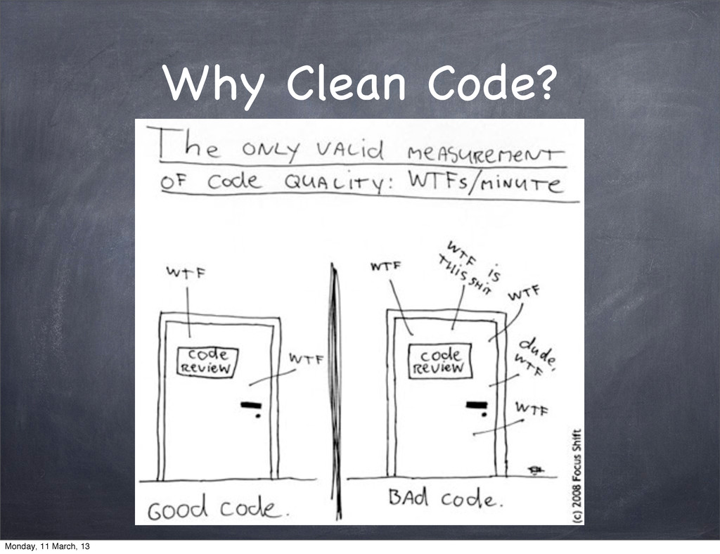 Why Clean Code? Monday, 11 March, 13