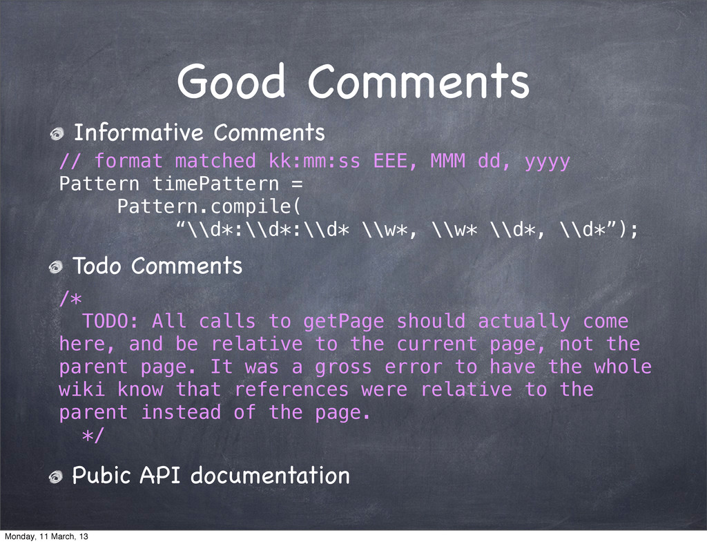 Good Comments Informative Comments // format ma...