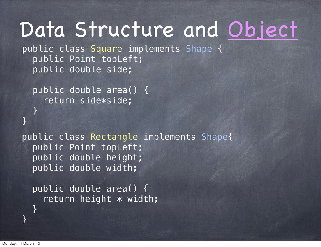 Data Structure and Object public class Square i...