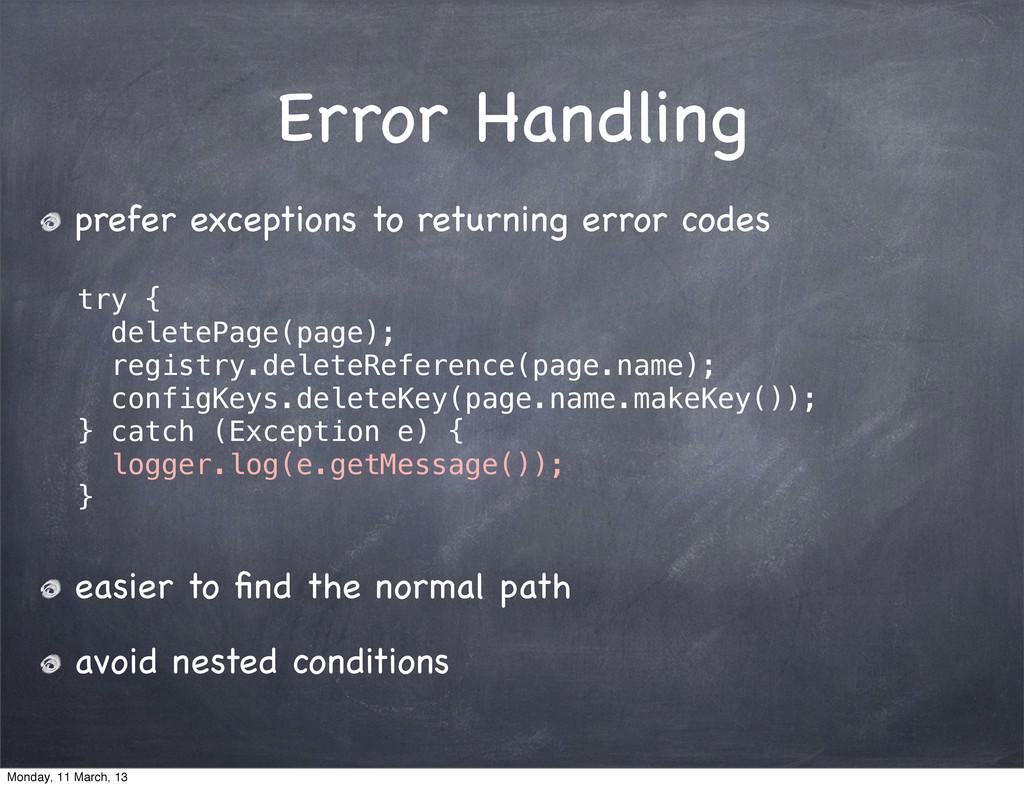 Error Handling prefer exceptions to returning e...
