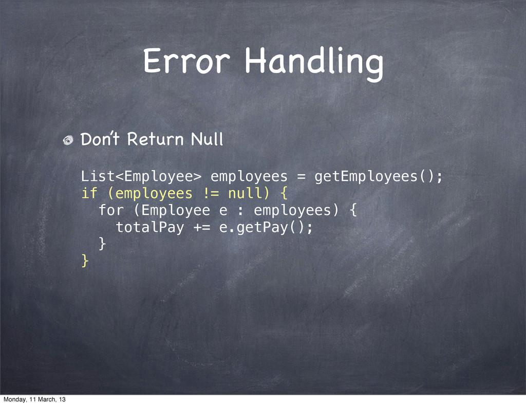 Error Handling Don't Return Null List<Employee>...