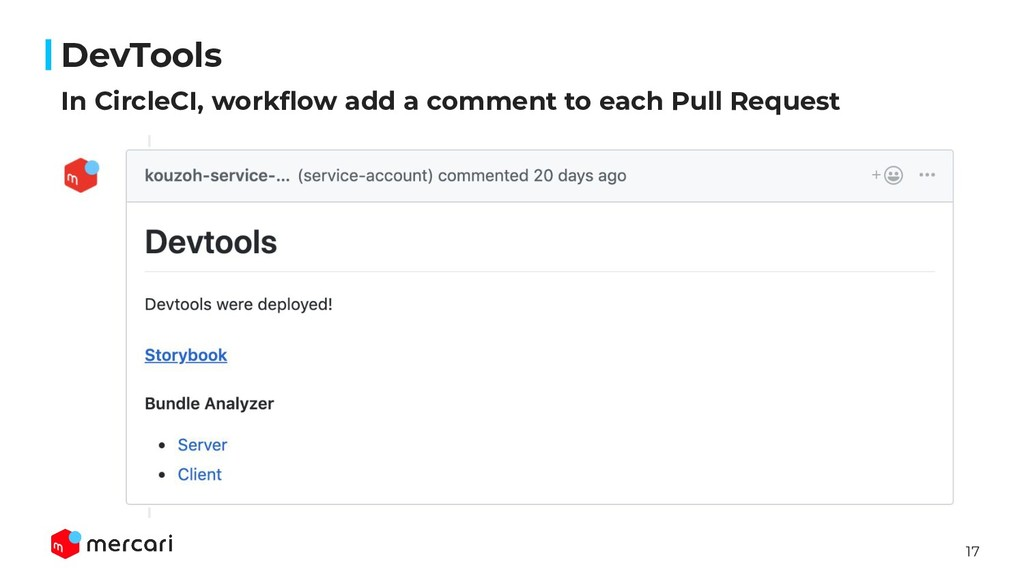 17 In CircleCI, workflow add a comment to each P...