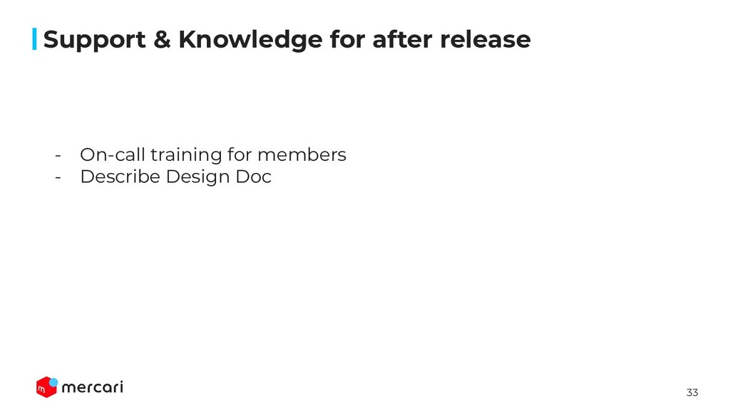 33 Support & Knowledge for after release - On-c...