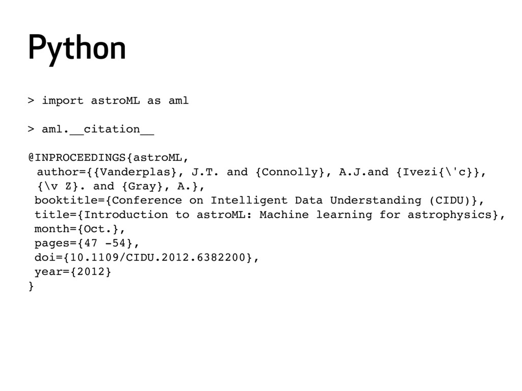 Python > import astroML as aml > aml.__citation...