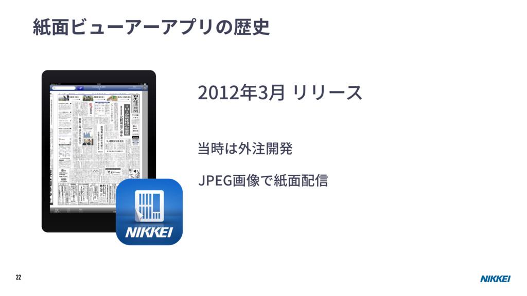 22 紙⾯ビューアーアプリの歴史 2012年3⽉ リリース 当時は外注開発 JPEG画像で紙⾯...