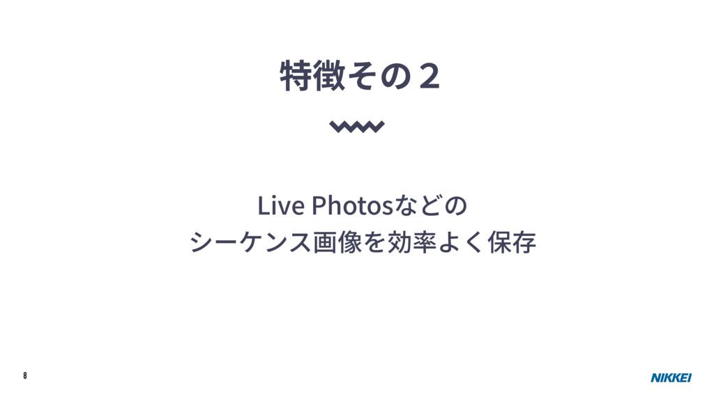 8 Live Photosなどの シーケンス画像を効率よく保存 特徴その2