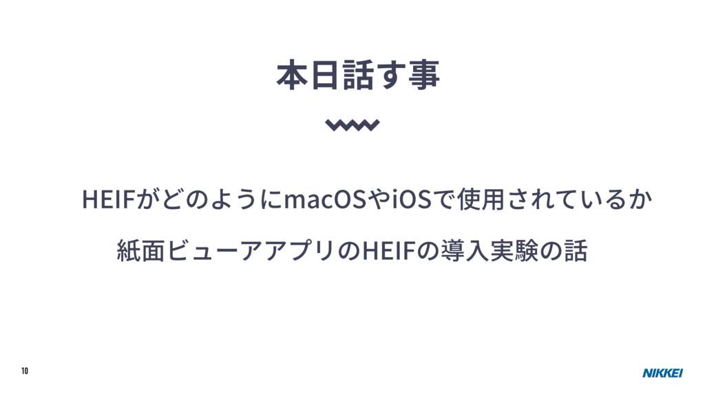 10 本⽇話す事 HEIFがどのようにmacOSやiOSで使⽤されているか 紙⾯ビューアアプリ...