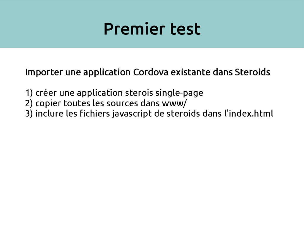 Premier test Importer une application Cordova e...
