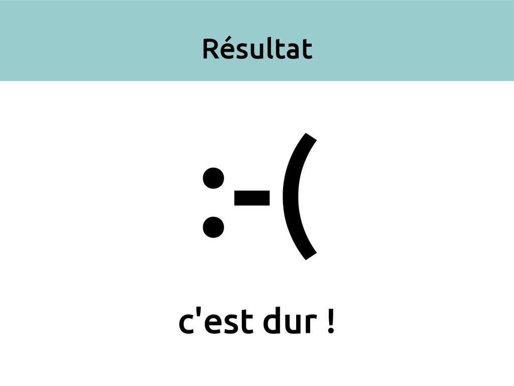 Résultat :-( c'est dur !