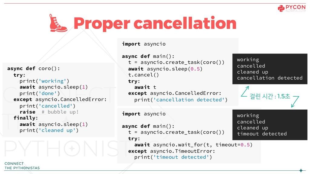 Proper cancellation async def coro(): try: prin...