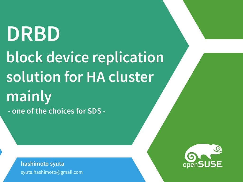 DRBD block device replication solution for HA c...