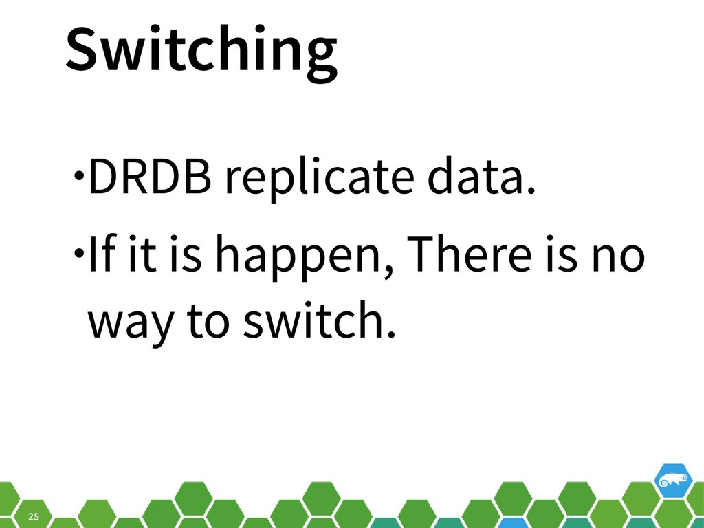 25 Switching •DRDB replicate data. •If it is ha...