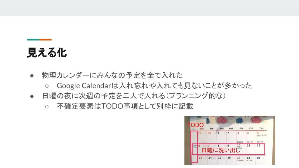 見える化 ● 物理カレンダーにみんなの予定を全て入れた ○ Google Calendarは入...