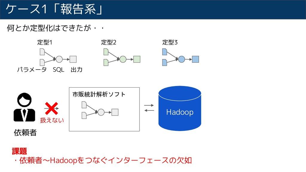 ケース1「報告系」 依頼者 市販統計解析ソフト 課題 ・依頼者~Hadoopをつなぐインターフ...