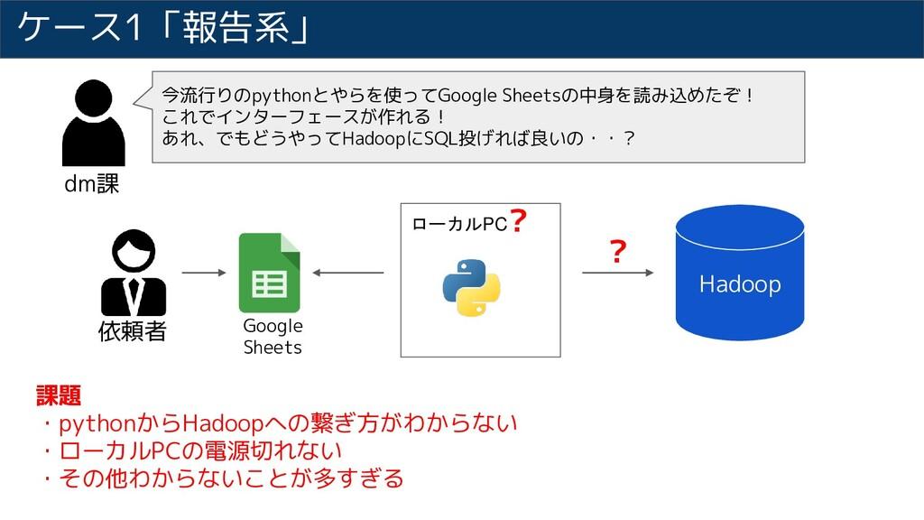 ローカルPC ケース1「報告系」 課題 ・pythonからHadoopへの繋ぎ方がわからない ...