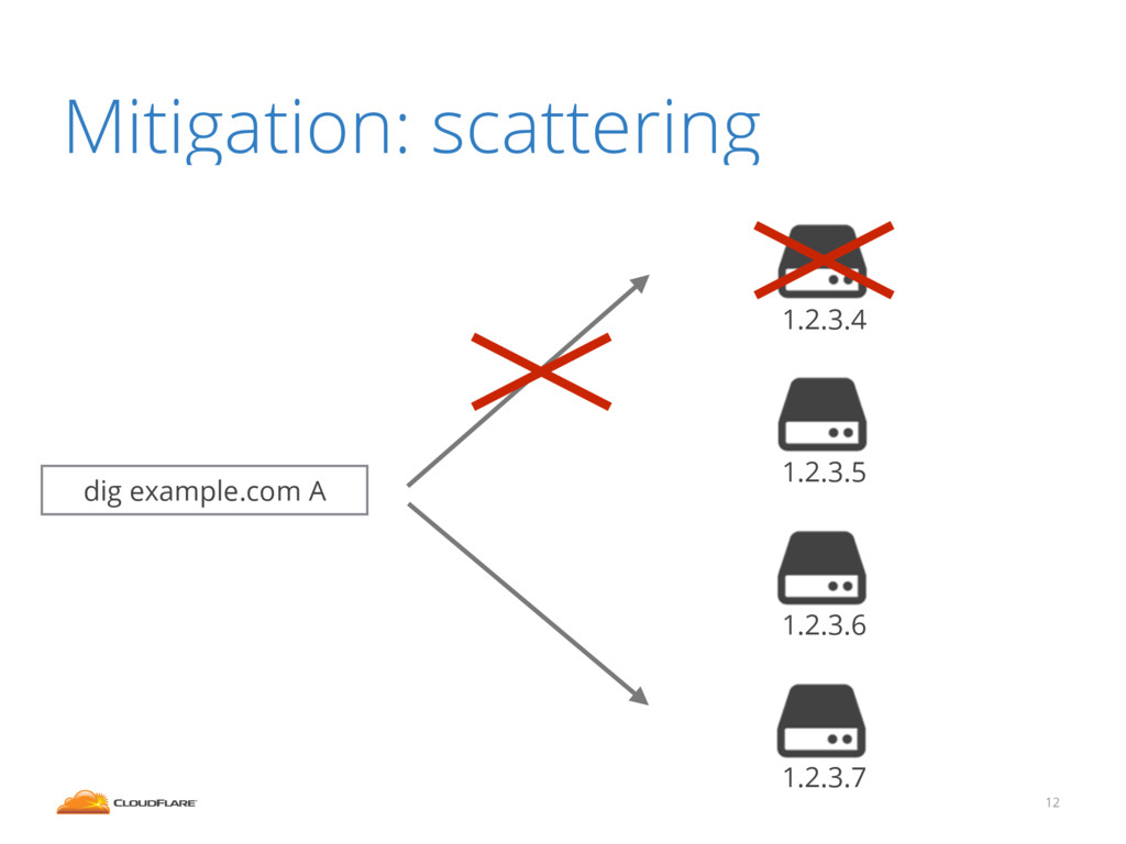 Mitigation: scattering 12 dig example.com A 1.2...