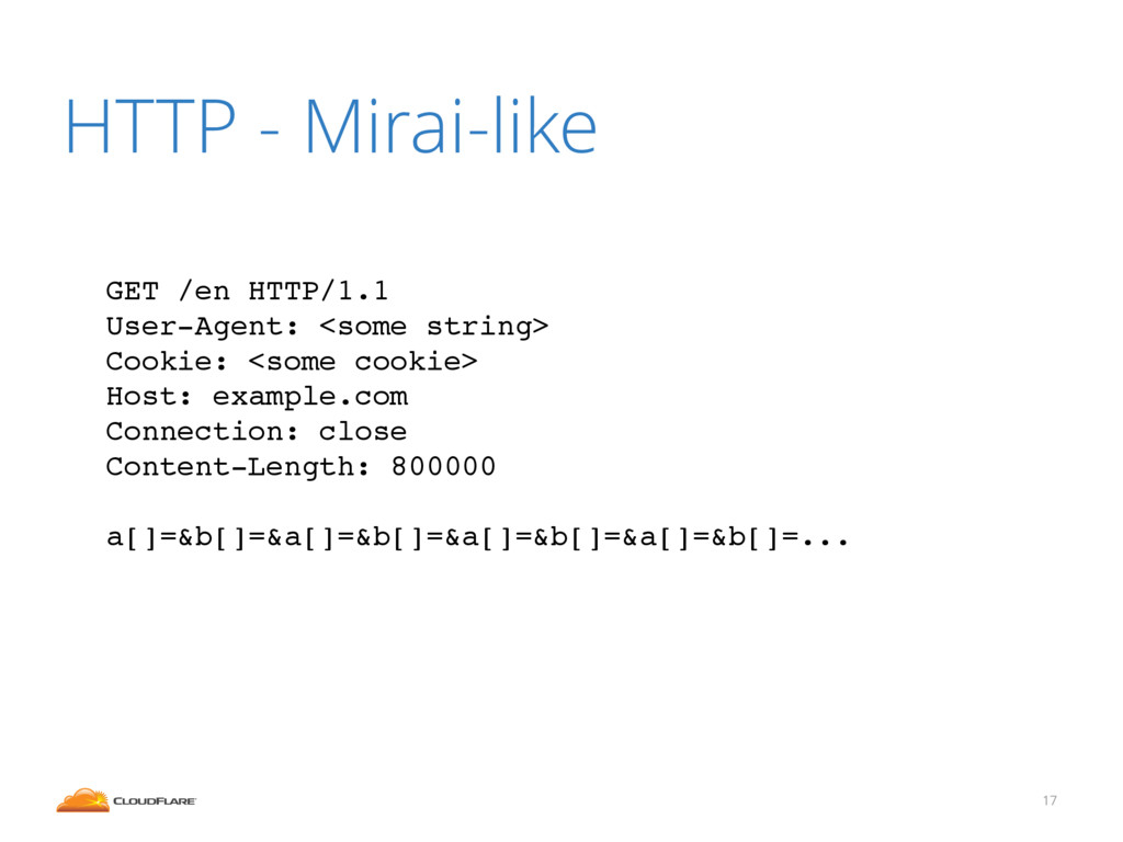 HTTP - Mirai-like 17 GET /en HTTP/1.1 ! User-Ag...