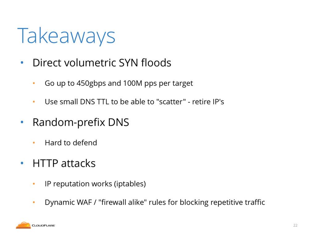 Takeaways • Direct volumetric SYN floods • Go up...