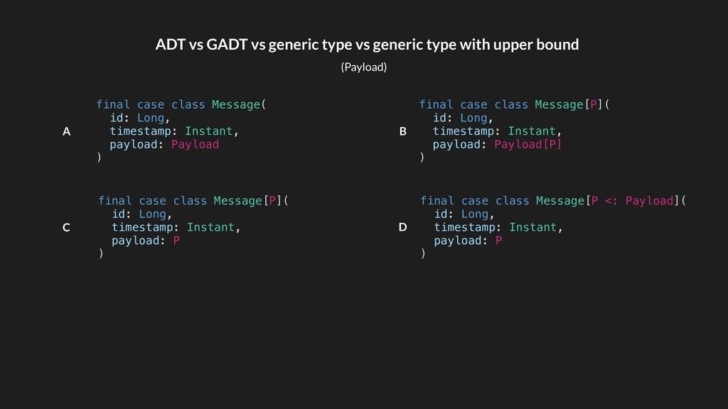 ADT vs GADT vs generic type vs generic type wit...