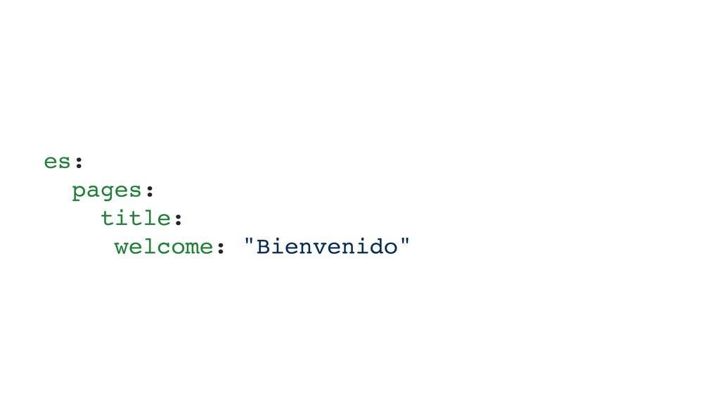 "es: pages: title: welcome: ""Bienvenido"""