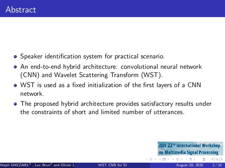 Abstract Speaker identification system for pract...