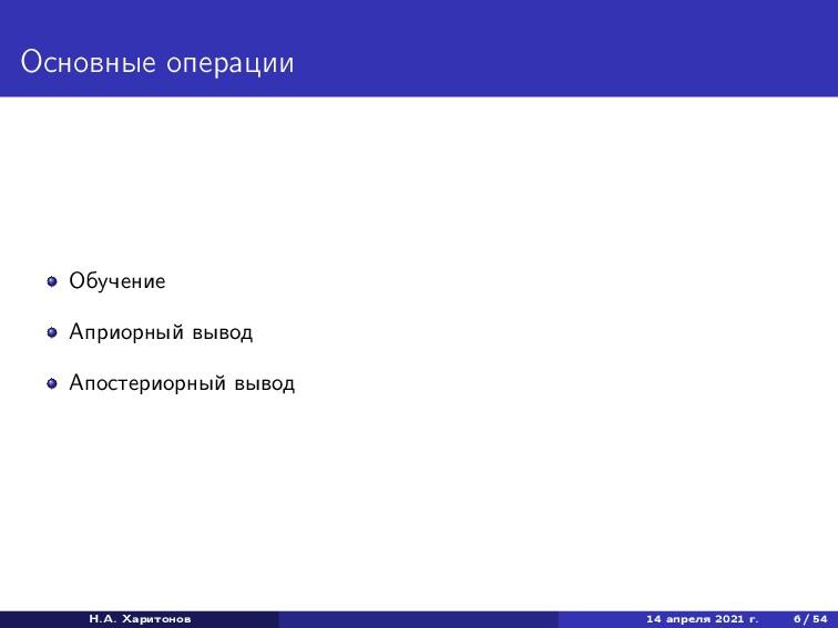 Основные операции Обучение Априорный вывод Апос...