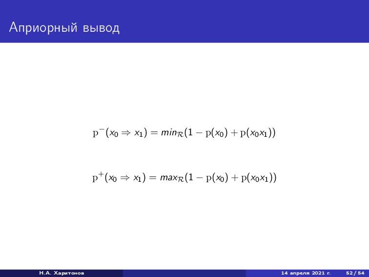 Априорный вывод p−(x0 ⇒ x1 ) = minR (1 − p(x0 )...