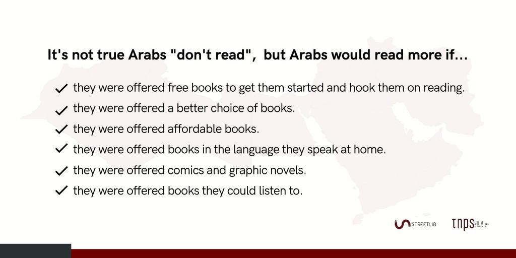 """It's not true Arabs """"don't read"""", but Arabs wou..."""