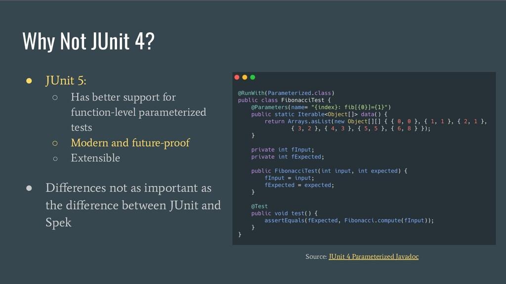 Why Not JUnit 4? ● JUnit 5: ○ Has better suppor...