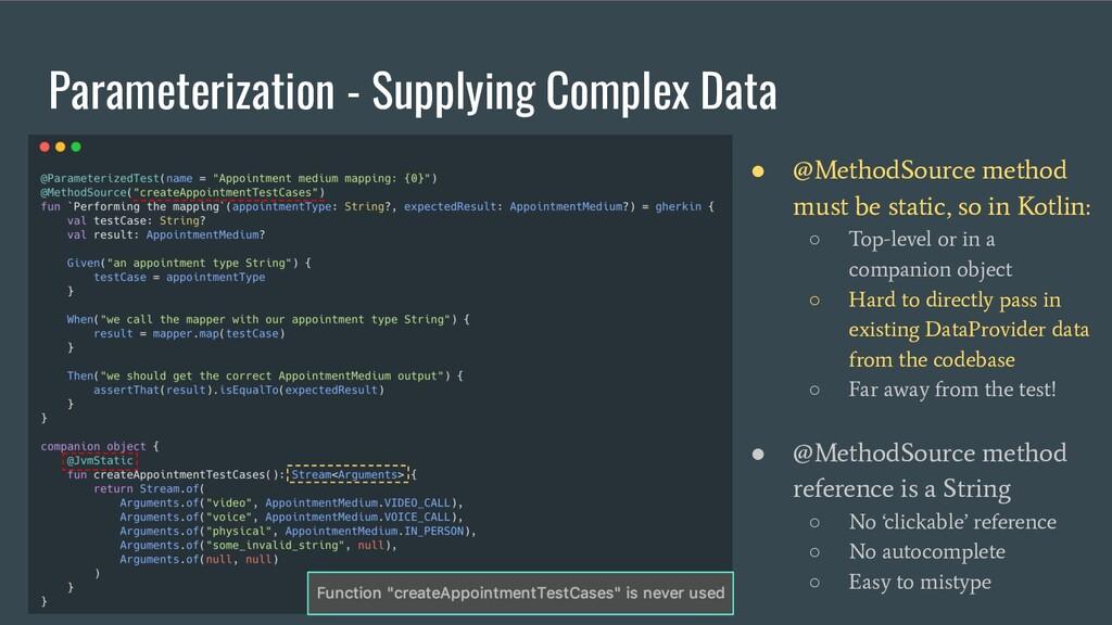 Parameterization - Supplying Complex Data ● @Me...