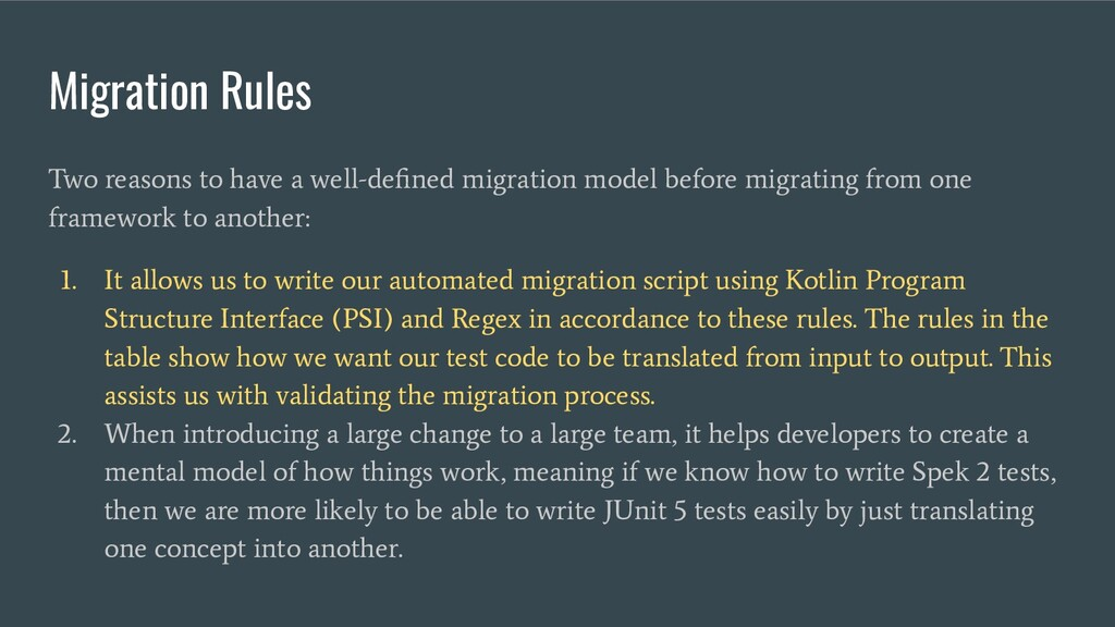 Migration Rules Two reasons to have a well-defin...